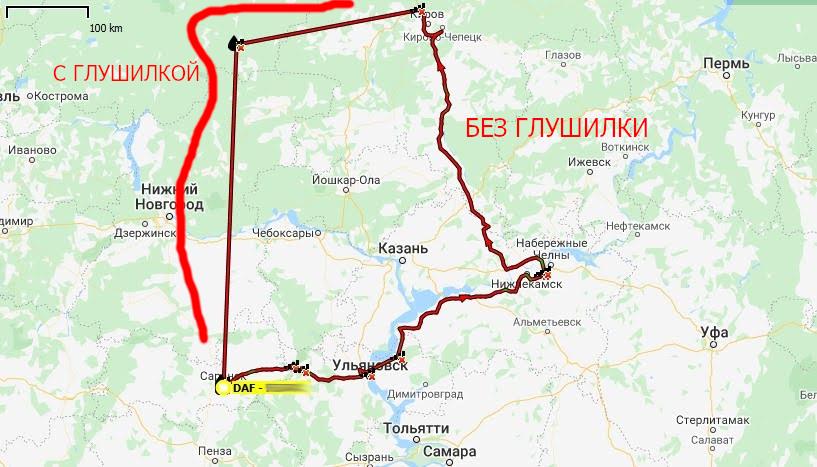 Изображение трека маршрута автомобиля со включенной глушилкой и без неё